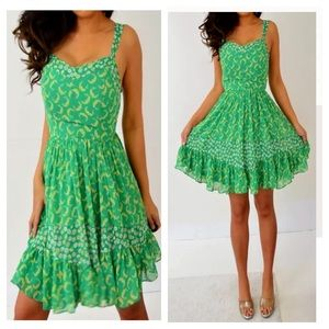 Lauren Conrad Green Pink Babydoll Dress 6 4 S